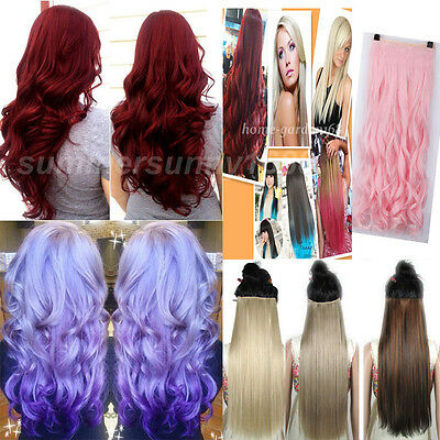 Real thick Hairpiece Clip in Hair Extensions Extentions Curly/Wavy Straight ha82