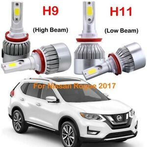 4x Combo H9 H11 Led Headlight Kits Bulbs For Nissan Rogue 2017 Hi