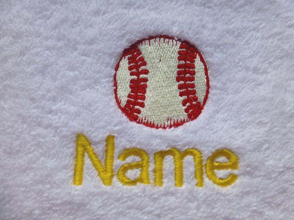 Baseball e il nome di scelta ricamato su asciugamani, con bagno cappuccio asciugamani, accappatoi da bagno con e2df4b
