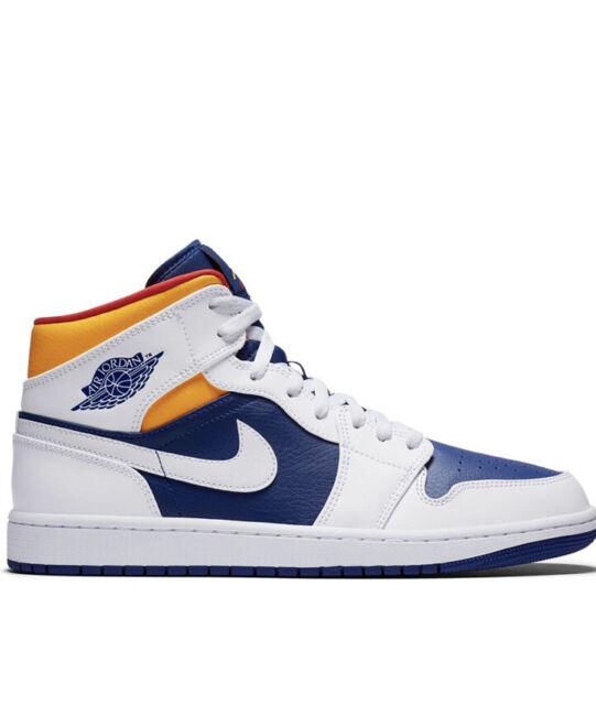 Nike Air Jordan 1 Mid Royal Blue Laser Orange Men's Size 9.5 (554724-131)