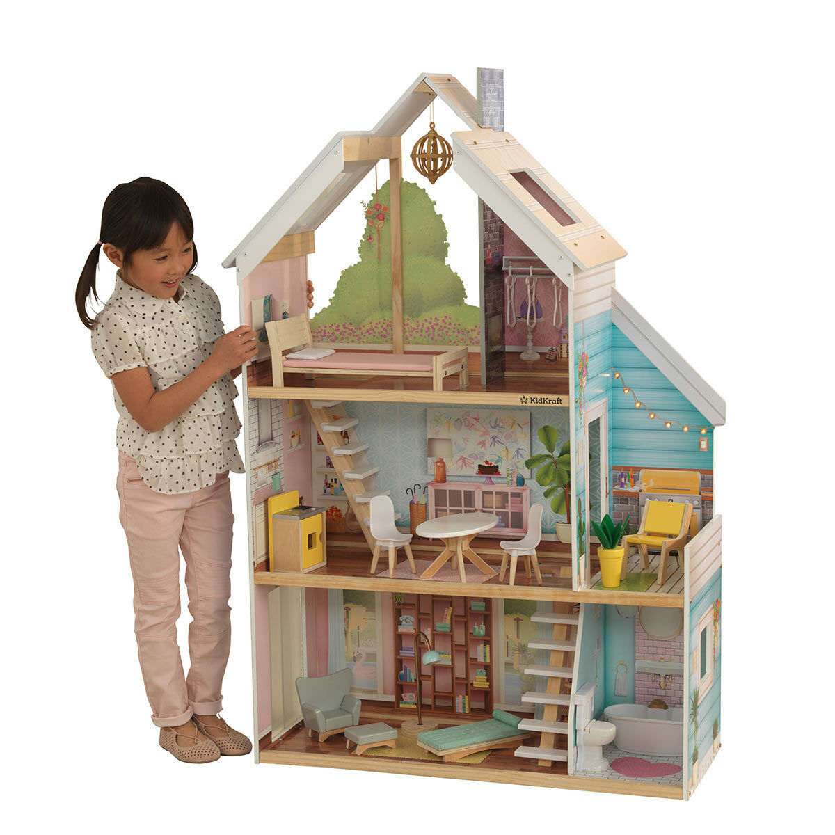 KidKraft Zoey Wooden Girls Kids Dollhouse + 17 Pieces of Furniture 3+ Years
