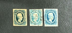 U.S. Stamps Confederate C.S.A. Selection Ten Cent Blues Used & Unused. OCT48.