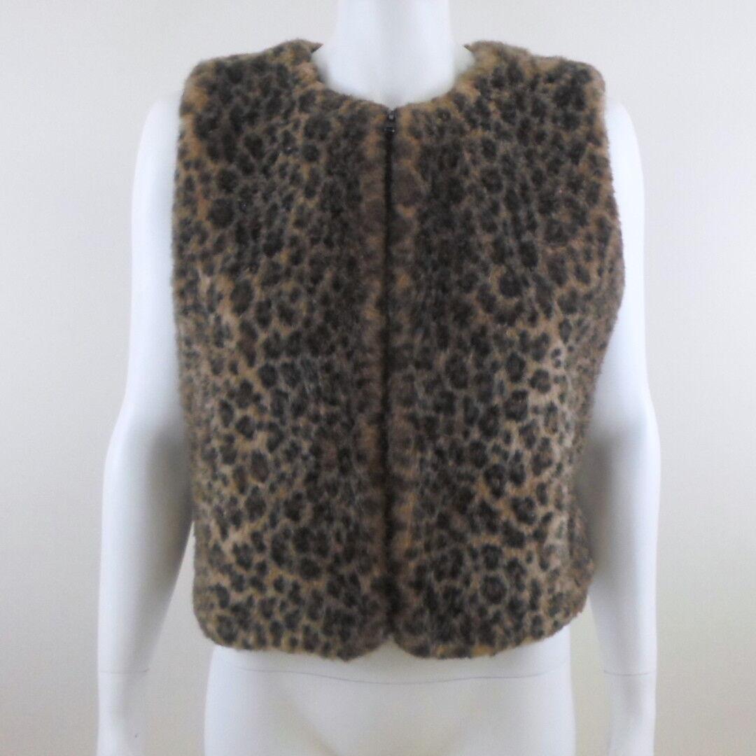 women SALYERS Fabulous Furs Animal Leopard Print Faux Fur Zip Front Vest M