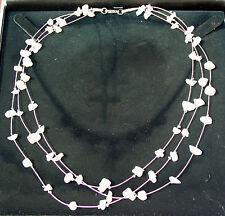 3-Strand Rose Quartz Stone Chip Crystal Gemstone Necklace, Reiki Blessed, 46cm