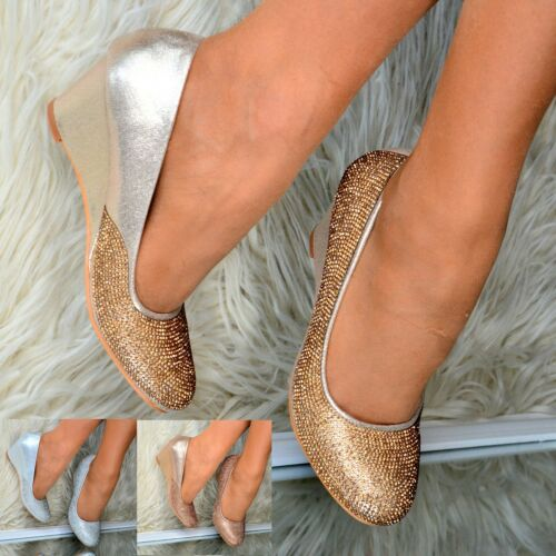 Ladies Diamante Low Mid heel Wedges Sparkly Evening Party Court Shoes Heels size