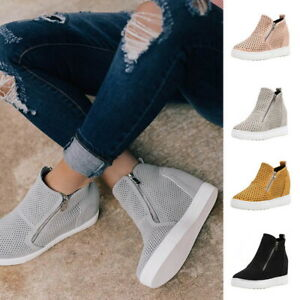 Women-Toe-Side-Zip-Ankle-Boots-High-Wedge-Heel-Flat-Platform-Shoes-Plus-Size-SH