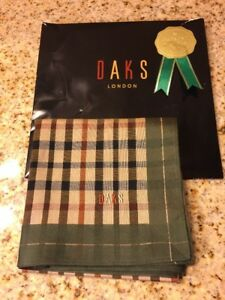 5959ec9e6264e Image is loading DAKS-Handkerchief-Scarf-Bandana-Pocket-Square-Cotton-Olive-