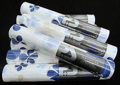 blau beige weiss edle Vliestapete Blumen-Design mit Glanz 13294-10-6