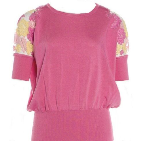 Valentino Pink Short Sleeve Lace Sweater Top