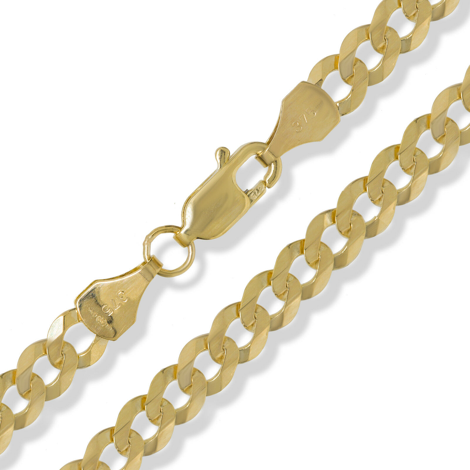 e5f534cf6c09e 9CT GOLD CURB CHAIN DIAMOND CUT FLAT TRACE ROPE FIGARO D/C NECKLACE  BRACELET BOX