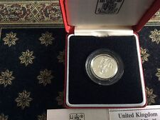 1985 Royal Mint Silver Proof Piedfort £1 coin Welsh Leek