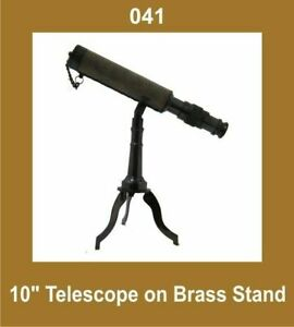 New-10-Inch-Telescope-on-Brass-Tripod-Stand-Nautical-Collectible