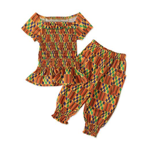 Toddler Baby Kids Girls African Print Off Shoulder Dashiki Princess Party Dress