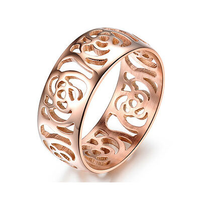 14K Rose GP Elegant Hollow-out Ring/Hypoallergenic Stainless Steel/Free Shipping
