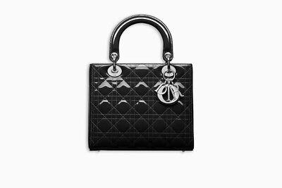 100 Authentic Women Dior Black Patent Lady Cannage Shoulder Bag Purse
