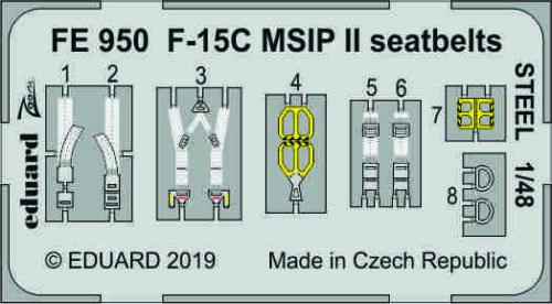 Eduard Zoom FE950 1//48 McDonnell F-15C Eagle MSIP II seatbelts STEEL GWH