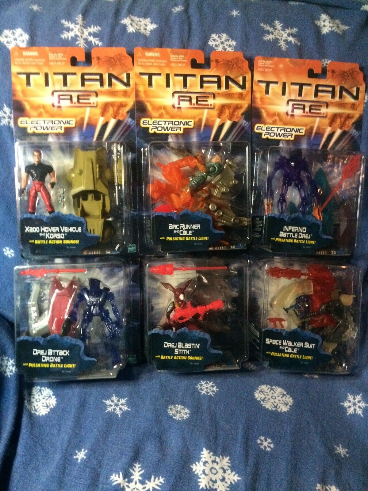 Lot of of of 6 TITAN A.E. Electronic Power Action Figures  (NOS) 2000 003354