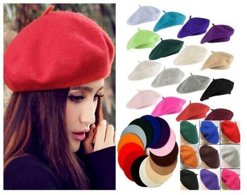 Femmes Filles Laine Plaine Beret Hat pour Femme Automne Hiver français béret chapeau