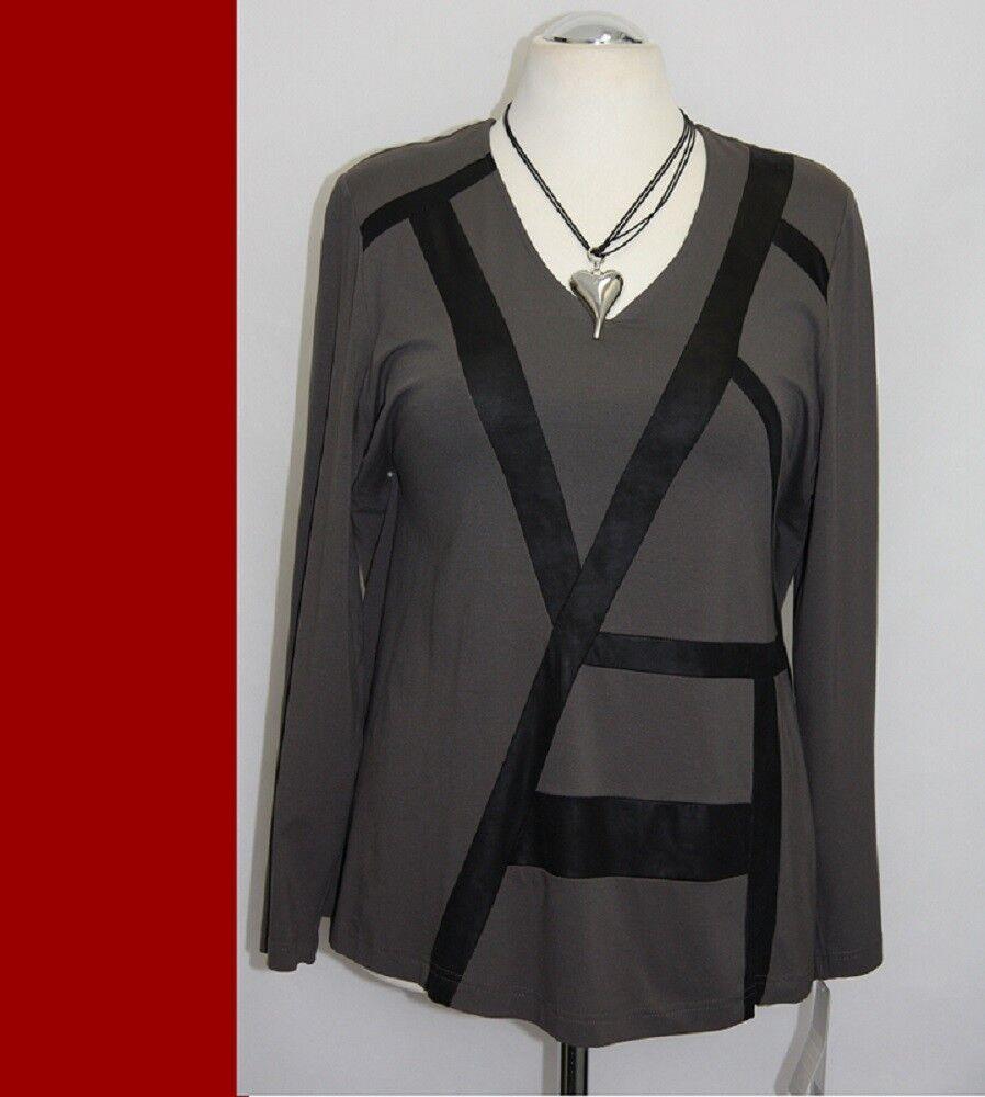 Chalou -  Shirt Tunika schwarz taupe Lederimitat   - A-Linie -Jersey  -  NX