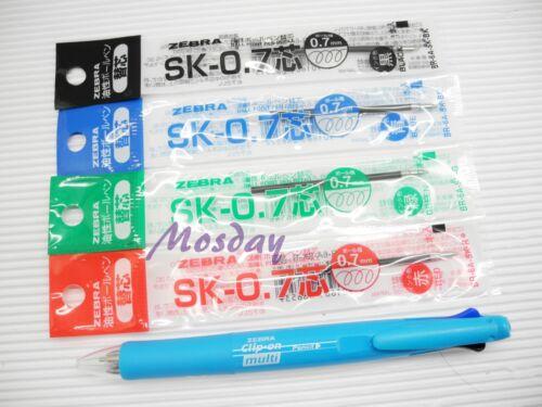 CBK 4 refills Zebra Clip-On 4 Colors 0.7 Ball Point Pen+0.5 Mechanical Pencil