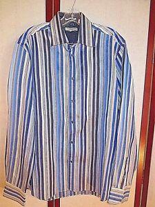 ef53eee7f Ted Baker London Long Sleeve Shirt Blue Stripe Size 4 L LARGE GREAT ...