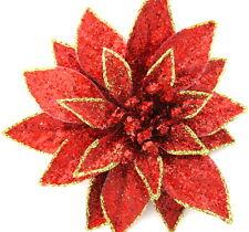 "CHRISTMAS HAIR FLOWER MINI RED SPARKLE /""PIRATE POINSETTIA/"" CLIP"