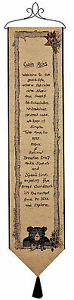 "WALL ART - ""BEAR LODGE"" TAPESTRY WALL HANGING - BELL PULL - CABIN RULES - LODGE"