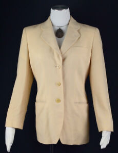 7f9319c154 Details about GIORGIO ARMANI Black Label Women's Cream Beige Wool 3-Btn  Blazer Jacket ~ 42, M