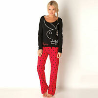 LADIES SIZE 8-16 PLAYBOY PYJAMAS LONG SLEEVES/BOTTOMS NEXT DAY POST WOMENS/GIRLS