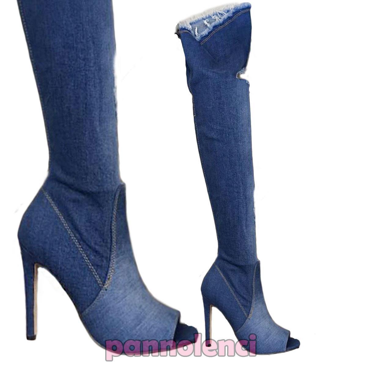 Frauenschuhe stiefel denim jeans zerrissen hoch oben up knie neu KS7039
