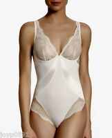 Simone Perele Queen 12b / 34b Bodysuit Ivory Natural Satin/lace Rrp $120