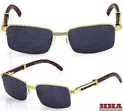 Retro WOOD BUFFS Vintage Style 90s Gangster Metal Frame Sun Glasses