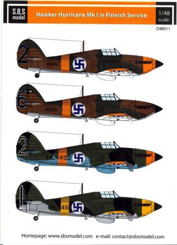 SBS Models Decals 1//48 HAWKER HURRICANE Mk.I FINNISH AIR FORCE