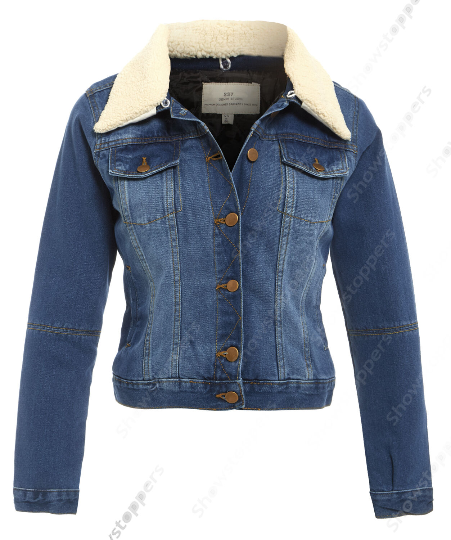 NUOVO FORTI taglia 18 20 22 24 Giacca di di di Jeans women Borg giubbotti da blue 4e41e8