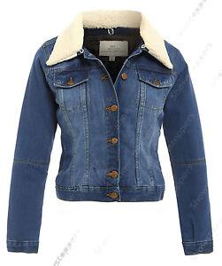 164da921b NEW Plus Size 18 20 22 24 DENIM JACKET Women's Borg Jean Jackets ...