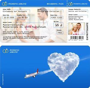 Einladungskarten Hochzeit Hochzeitseinladungen Flugticket | eBay