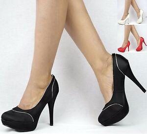 Damen Schuhe Pumps High Heels Plateau Schwarz 36 5m4QBrEPm