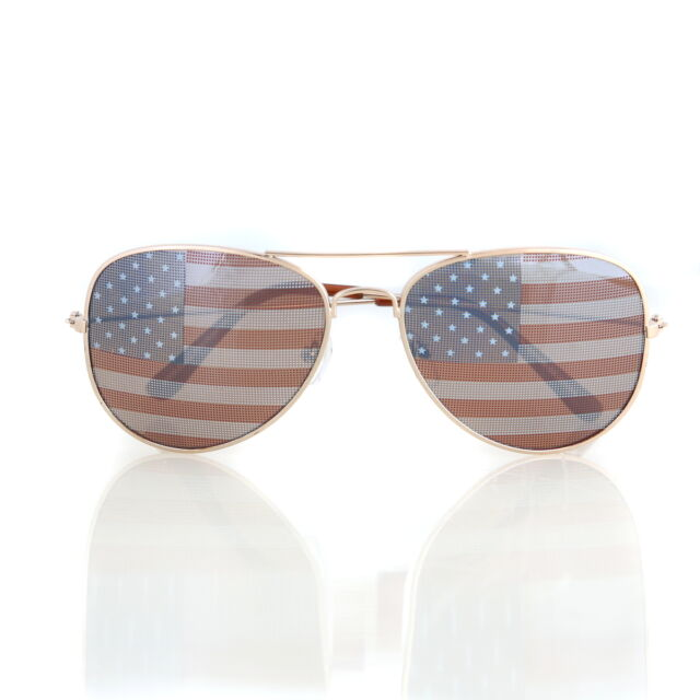 0ff8044d5010 American USA Flag Aviator Sunglasses Patriotic United States Stars Stripes  Gold