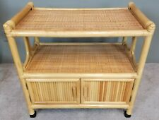 MCM Bamboo Bentwood Rattan Rolling Serving Bar Cart Mid Century Modern