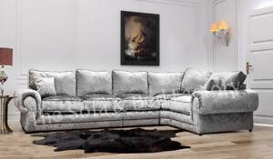 Image Is Loading Luxury Lara Crushed Velvet Large 5 Seater