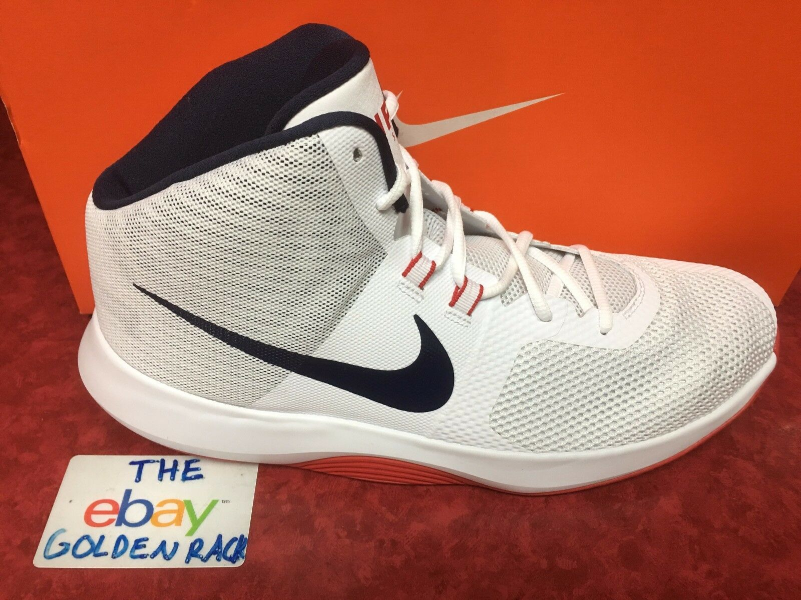 Nike Air Precision 898455-101 Basketball White Navy-Red Men's shoes Size 13 NIB