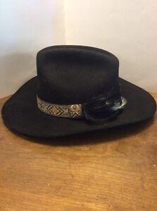 Dynafelt Western Cowboy Hat Size 7-1 8 Wool Fur Blend Black Feathers ... 3ecb0ecb945f