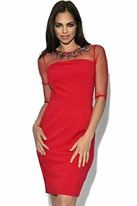 Utsmykket Red Bnwt Bodycon Prom Dress 10 Mistress Uk Mesh Little Party Top qU5tPn