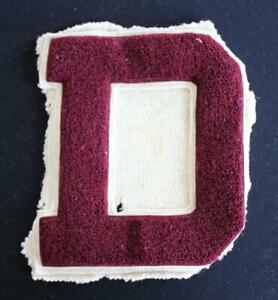 """VINTAGE 1960'S-1970'S SCHOOL SWEATER MAROON AND WHITE PATCH 7"""" X 9"""""""