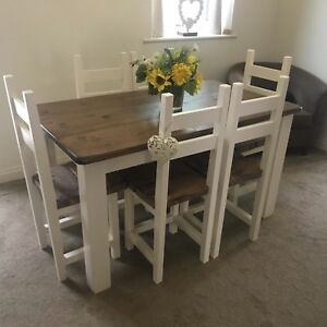 Details About Rustic Shabby Chic Dining Farmhouse Table And 6 Chairs 1400x800mm