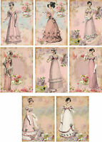 Vintage Jane Austen tea time small note cards tags ATC altered art set of 8