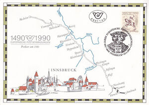 Austria 1990 500 years of Post Mechelen to Innsbruck Large Postcard FDC VGC - Leicester, United Kingdom - Austria 1990 500 years of Post Mechelen to Innsbruck Large Postcard FDC VGC - Leicester, United Kingdom