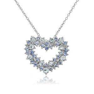 Sterling-Silver-Aquamarine-Tanzanite-amp-1-10ct-Diamond-Cluster-Heart-Necklace