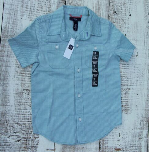 6-7 Blue Green Stripe Polo Dress Shirt Short Sleeves Gap Kids Boys NEW Size 4-5