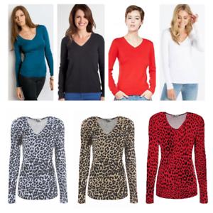 Womens-Ladies-Girls-Plain-Long-Sleeve-V-NECK-T-Shirt-Top-Plus-Size-Tops-Shirt